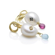 PEARL, GOLD, DIAMOND & GEMSTONE PENDANT