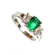 Bespoke 1ct Emerald And Diamond Ring In 18ct White Gold