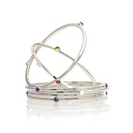 SILVER BIRTHSTONE BANGLE WITH DIAMONDS & GEMSTONES