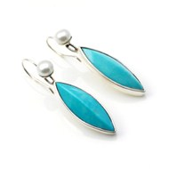 TURQUOISE & PEARL DROP EARRINGS