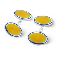 YELLOW & BLUE ENAMEL & SILVER STARBURST CUFFLINKS