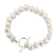 WHITE BAROQUE PEARL BRACELET WITH SILVER T-BAR CLASP