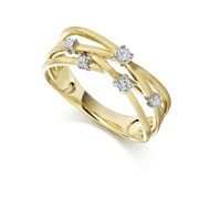 MULTISTRAND 9ct YELLOW GOLD RING WITH 5 DIAMONDS