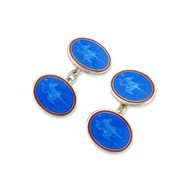 BLUE ENAMEL & SILVER POLO CUFFLINKS
