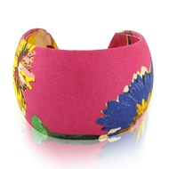 LEATHER CUFF IN PINK WITH BLUE FLOWER MOTIF2