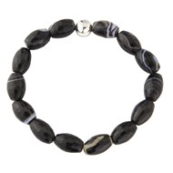 BLACK MONOCHROME LOZENGE SHAPED AGATE BRACELET