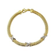 ASCOT GOLD VERMEIL BRACELET WITH 3 KISSES SET WITH CZ