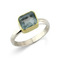 RECTANGULAR  AQUAMARINE SILVER RING SET IN 18CT GOLD