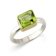 RECTANGULAR PERIDOT SILVER RING SET IN 18CT GOLD