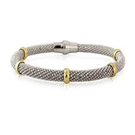 DIAMOND CUT SILVER BRACELET WITH GOLD BANDS MAGNETIC CLASP