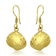 GOLD VERMEIL CLAM SHELL EARRINGS ON HOOKS