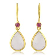 ROSE QUARTZ AND RUBY GOLD VERMEIL HOOK EARRINGS