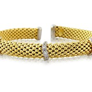 BEAD TORQ BANGLE GOLD PLATED WITH CUBIC ZIRCONIA