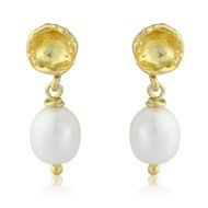 SAMOS SEED POD EARRINGS WITH DROP PEARL IN 18CT GOLD VERMEIL