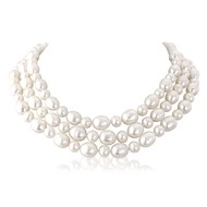 TRIPLE STRAND ROUND & OVAL PEARL CHOKER