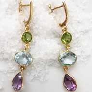 AMETHYST BLUE TOPAZ AND PERIDOT DROP EARRINGS