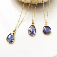 FACETED TANZANITE PENDANT NECKLACE