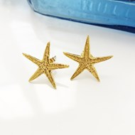 LARGE GOLD VERMEIL STARFISH EARRINGS