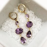 TRIPLE DROP AMETHYST GEMSTONE EARRINGS