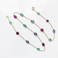 RUBY EMERALD & SAPPHIRE 18ct GOLD NECKLACE