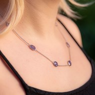 TANZANITE NECKLACE ON STERLING SILVER CHAIN