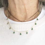 FINE EMERALD NECKLACE ON 18ct GOLD CHAIN