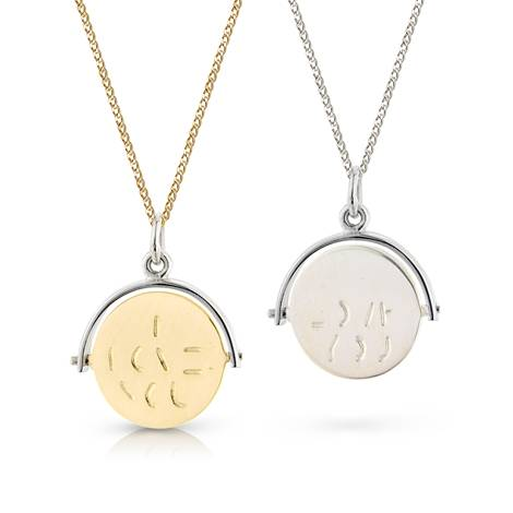 9 ct gold and sterling silver spinning i love you pendant click image to zoom mozeypictures Gallery