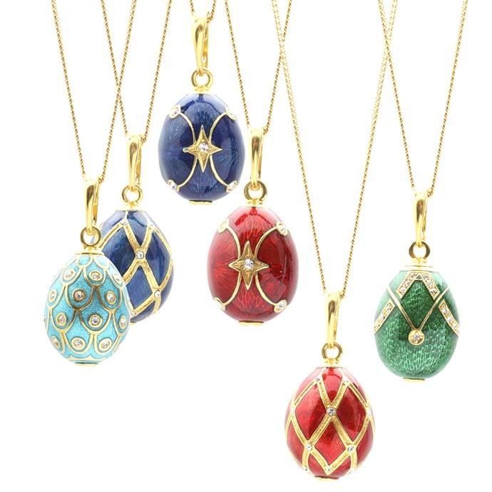 Heart design enamel egg pendants inspired by the work of carl faberge aloadofball Gallery