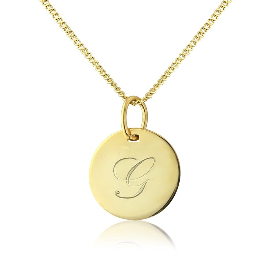c675725bd26 'GIGI' 9ct GOLD PERSONALISED INITIAL DISC PENDANT (4635)