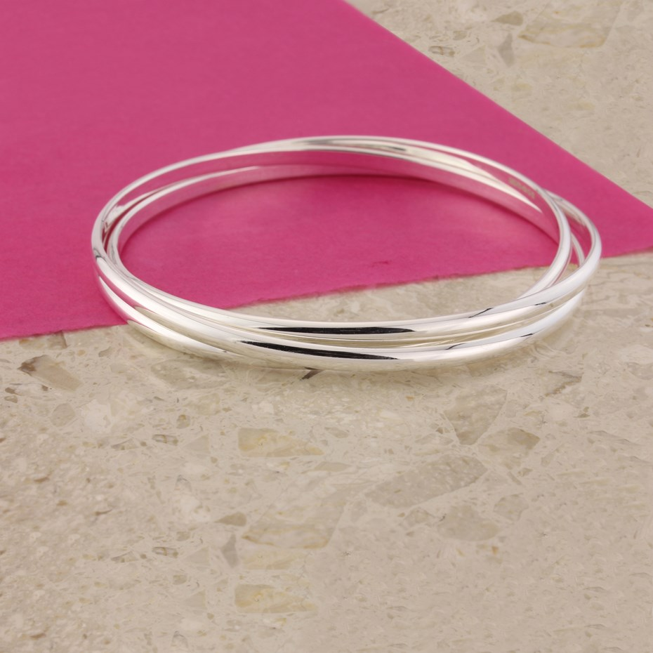 SILVER RUSSIAN 3 RING BANGLE
